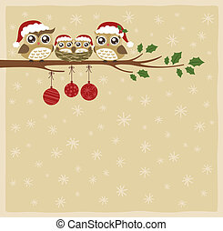 uil, kerstmis, familie viering