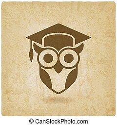 uil, oud, symbool, afgestudeerd, wijsheid, cap., achtergrond