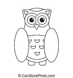 uil, plat, symbool, wijsheid, pictogram, vogel