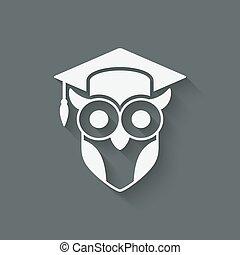 uil, symbool, cap., afgestudeerd, wijsheid
