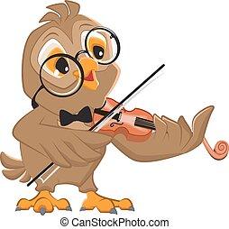 uil, toneelstukken, viool