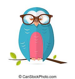 uil, vector, vrijstaand, illustratie, papier, achtergrond, witte , bril