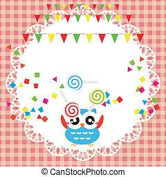uil, verjaardagsfeest, kaart, schattig