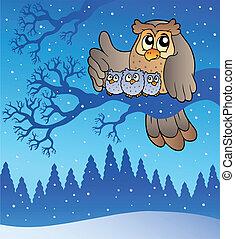 uil, winter, gezin