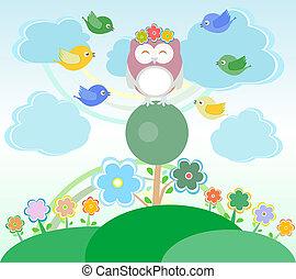 uil, zittende , boompje, bloemen, achtergrond, vogels