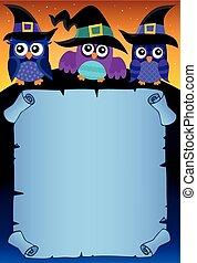 uilen, 3, halloween, thema, perkament