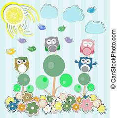 uilen, bloemen, boompje, achtergrond, zittende