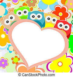 uilen, bloemen, en, valentines, hart, in, frame