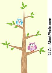 uilen, boompje, twee