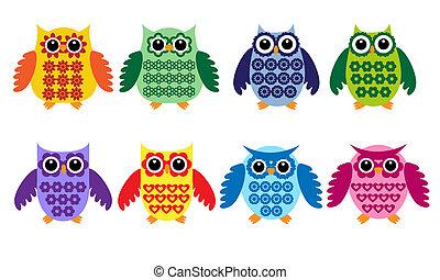 uilen, kleurrijke