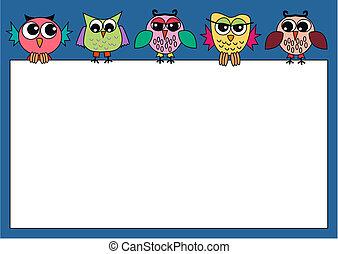 uilen, kleurrijke, vasthouden, meldingsbord