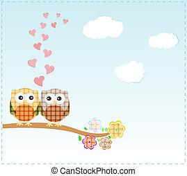 uilen, liefde, achtergrond, tak, zittende