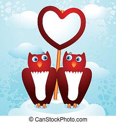 uilen, liefde, meldingsbord
