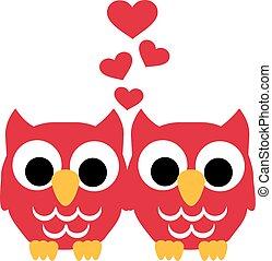 uilen, liefde, twee harten