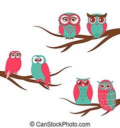 uilen, paar, vector, achtergronden, tak