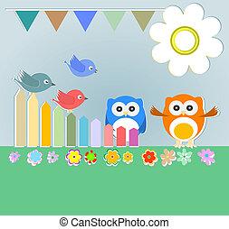 uilen, paar, vogels, achtergrond