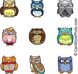 uilen, spotprent, pictogram