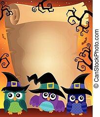 uilen, thema, 2, halloween, perkament
