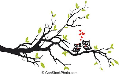 uilen, verliefd, op, boompje, vector