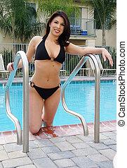 uit, bikini, pool, dame, krijgen, mooi
