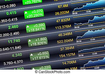 uitbouwingen, prijs, scherm, van, beursmarkt