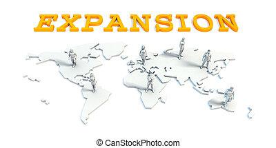 uitbreiding, concept, met, handel team