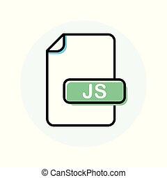 uitbreiding, formaat, js, kleur, bestand, lijn, pictogram