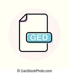 uitbreiding, formaat, kleur, bestand, ged, lijn, pictogram