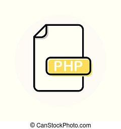 uitbreiding, formaat, kleur, bestand, lijn, php, pictogram