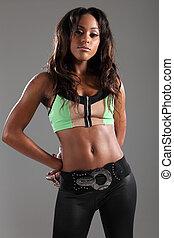 uitdagend, sexy, pose, door, jonge, black , afrikaan, model