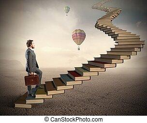 uitdaging, en, moeilijkheid, in, de, studeren
