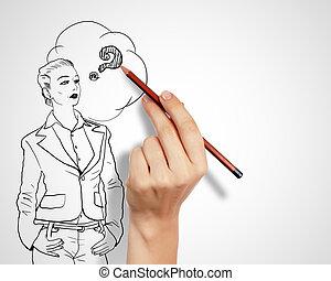 uitdagingen, vragen, zakelijk, tekening