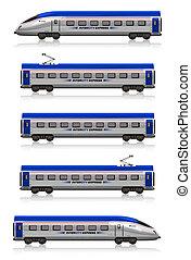 uitdrukken, begraven, set, stad, trein