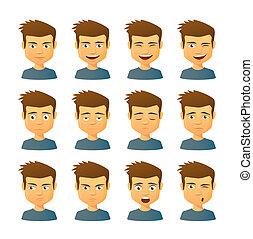 uitdrukking, set, mannelijke , avatar