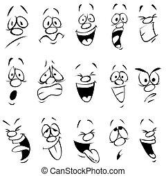 uitdrukking, spotprent, gezichts