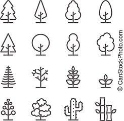 uitgebreid, bamboe, iconen, boompje, set., bevat, hout, slag, vector, dennenboom, zulk, more., pictogram, cactus, lijn, plant