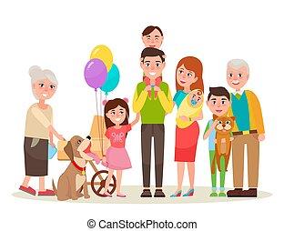 uitgebreide familie, foto, illustratie, spotprent, vrolijke