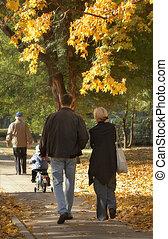 uitgebreide familie, op, een, wandeling