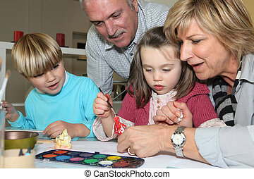uitgeven, grootouders, tijd, kleinkinderen, hun