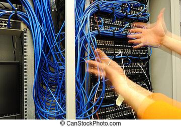 uitgeven, met, schakelaars, en, kabels, op, scheiden, kamer