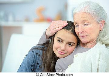 uitgeven, tijd, met, oma