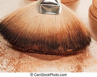 uitmaken, het poeder van het gezicht, brush., afsluiten