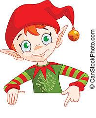 uitnodigen, elf, kaart, plek, kerstmis, &