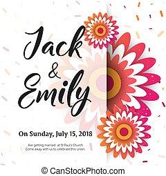 uitnodigen, uitnodiging, ontwerp, trouwfeest, floral, kaart