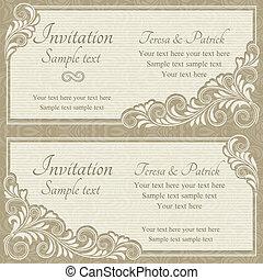 uitnodiging, barok, beige