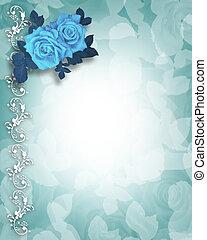uitnodiging, blauwe , rozen