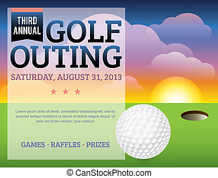 uitnodiging, golf, ontwerp, toernooi