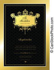 uitnodiging, goud, card., trouwfeest, of, v