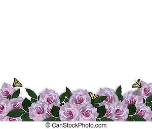 uitnodiging, grens, lavendel, rozen
