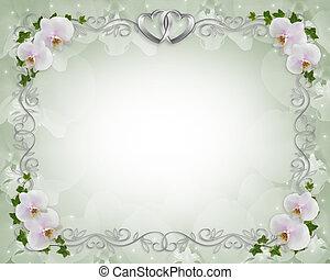 uitnodiging, grens, trouwfeest, klimop, orchids